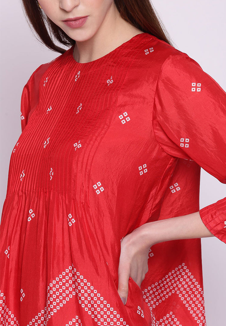 Chevron Bandhani Pintuck Silk Kurta with Pants - Red