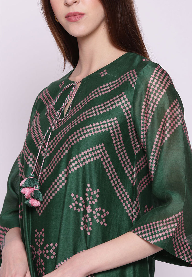 Emerald Green Chevron Bandhani Kurta with Pants