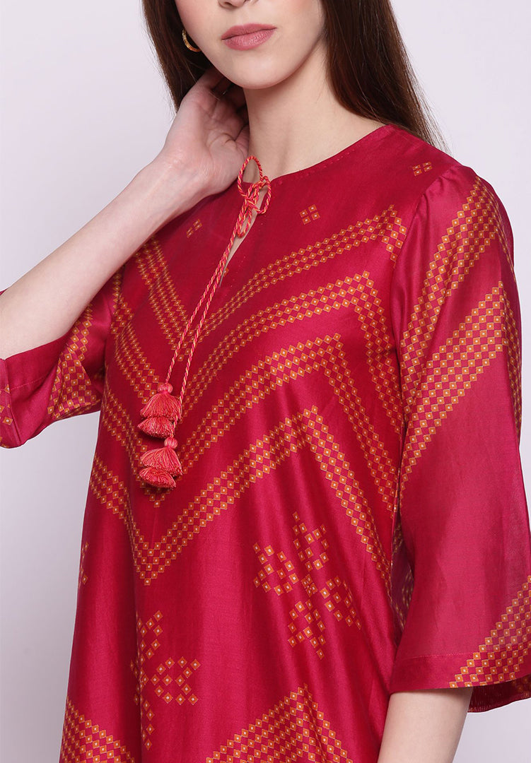 Fuchsia Pink Chevron Bandhani Kurta with Pants