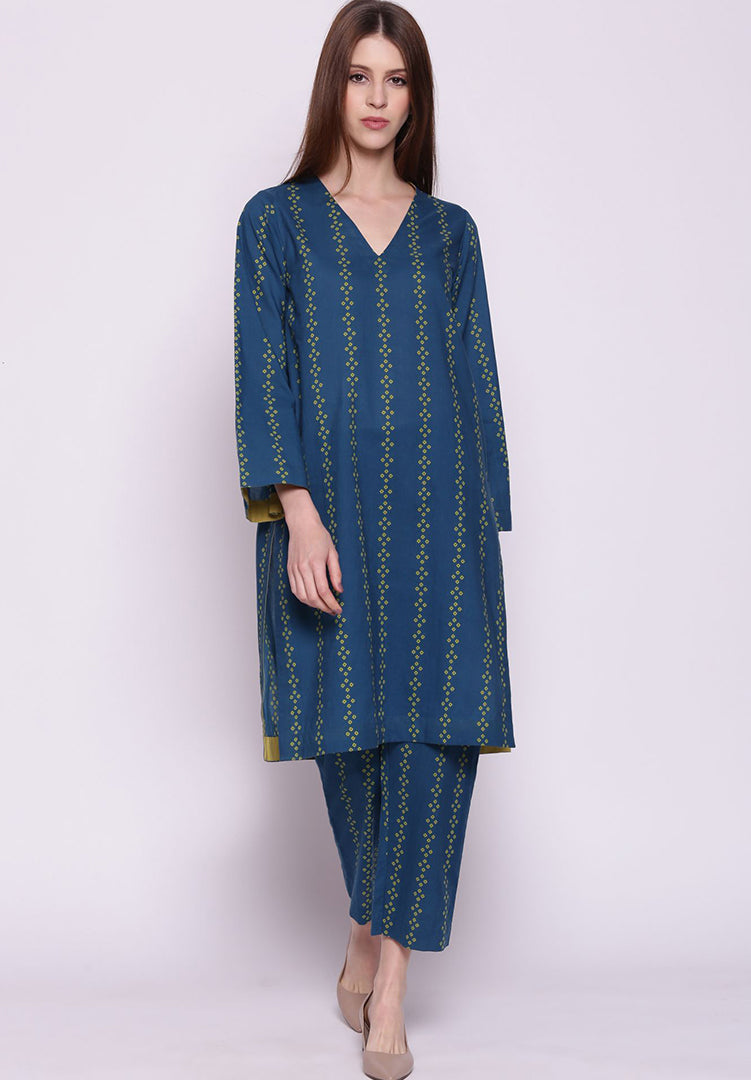 Vertical Stripe Bandhani Kurta with Pants - Blue