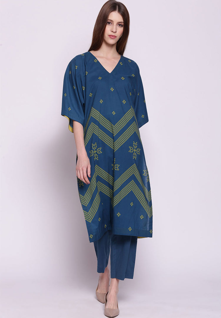 Chevron Bandhani Kimono with Pants - Blue