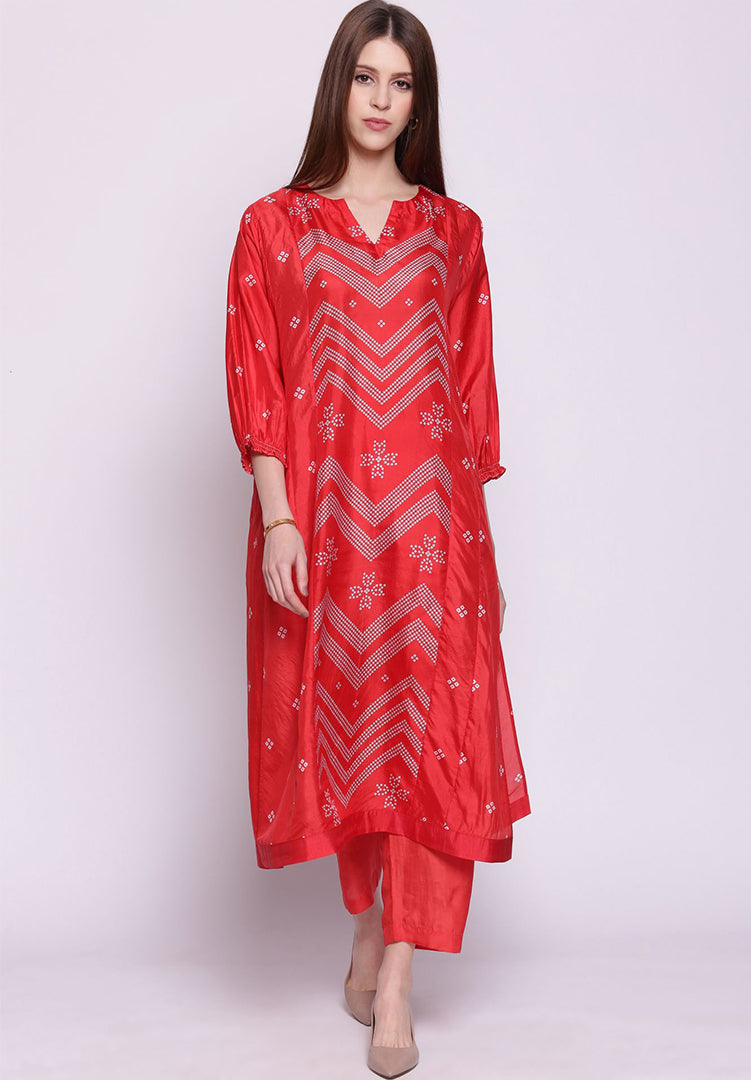 Chevron Bandhani Straight Kurta with Pants - Red