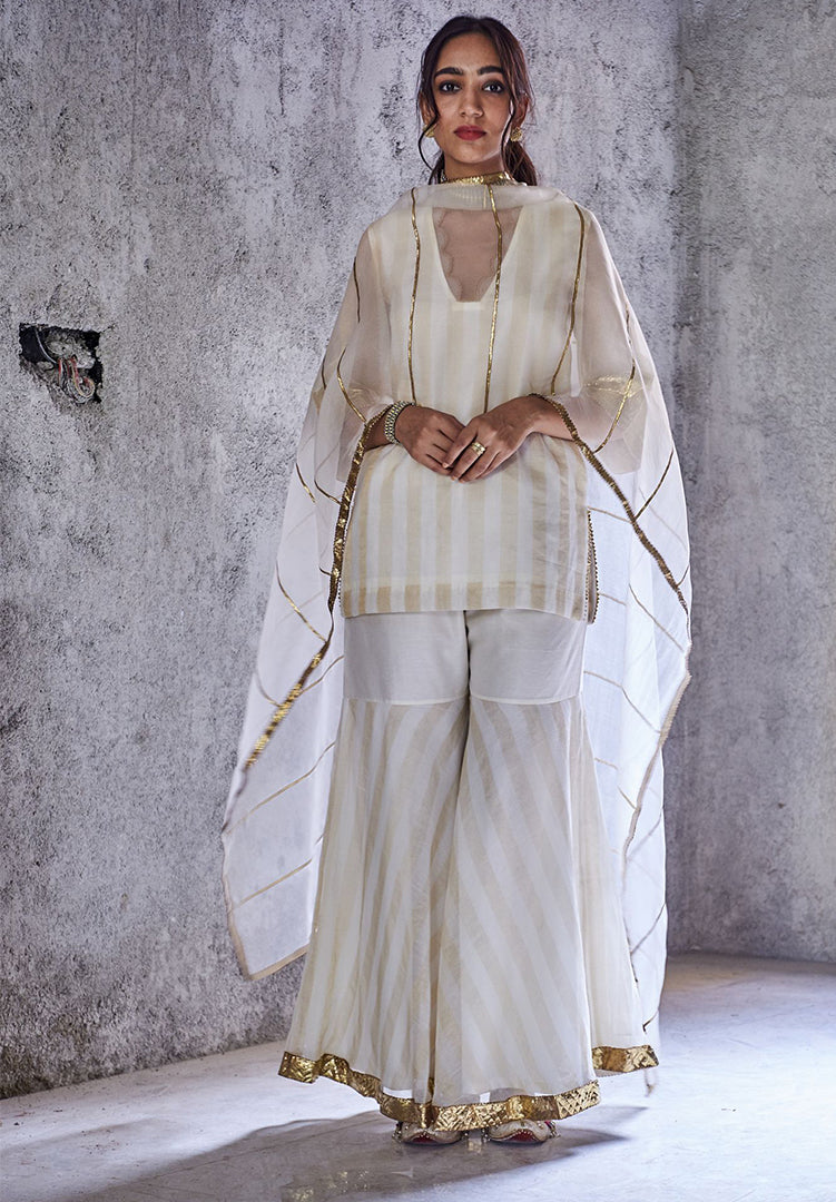 Meera Kurta and Gharara Set with Dupatta - White