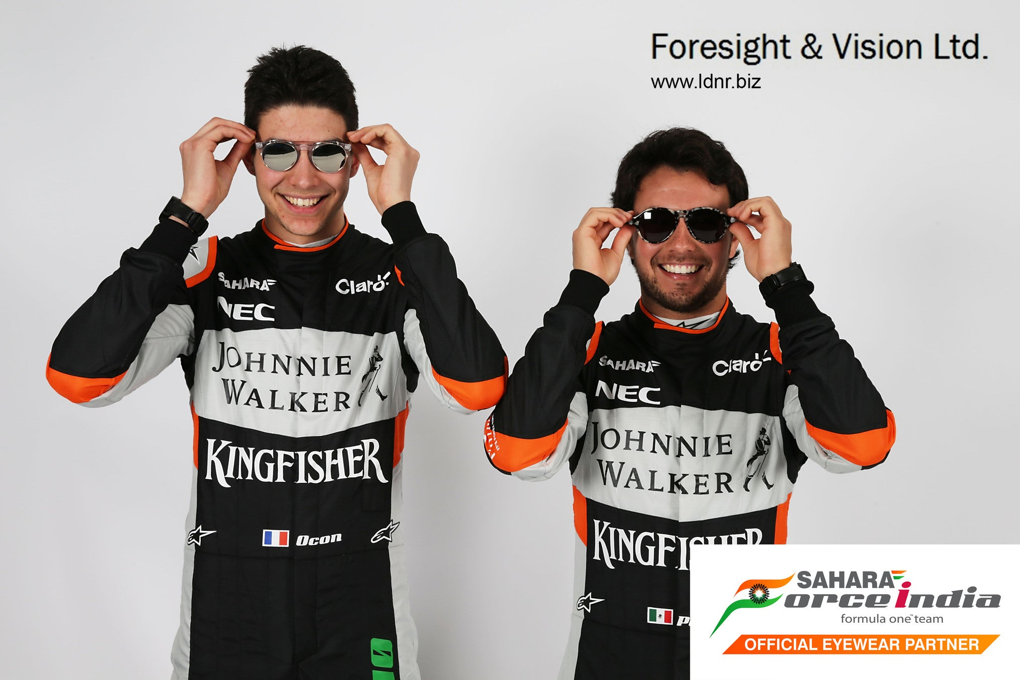 Behind the scenes fittings for the launch of LDNR Eyewear with Sahara Force India Formula One
