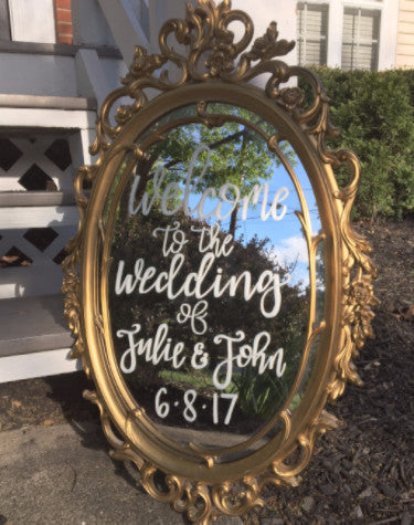 Golden Oval Lettered Mirror