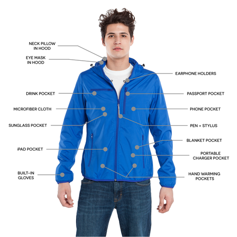 BauBax Mens Travel Windbreaker in Blue