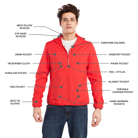 BauBax Mens Travel Windbreaker in Red