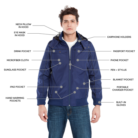 BauBax Mens Travel Bomber Jacket in Blue