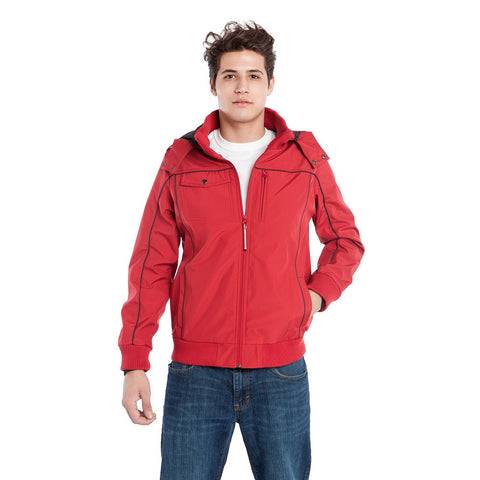 BauBax Mens Travel Bomber Jacket in Red