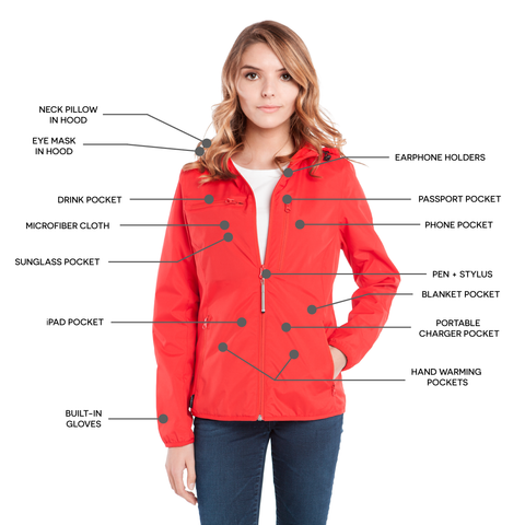 BauBax LadiesTravel Windbreaker in Red