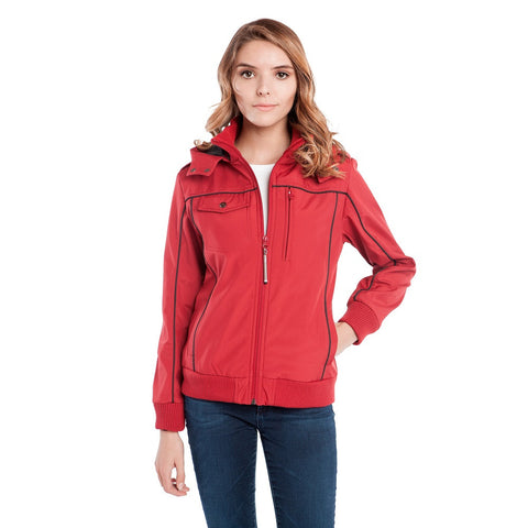 BauBax Ladies Travel Bomber Jacket in Red