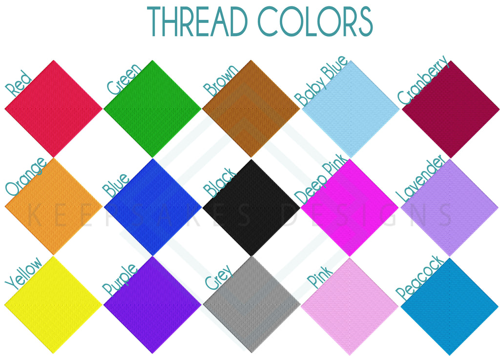 Embroidery Thread Colors | Keepsakes Designs