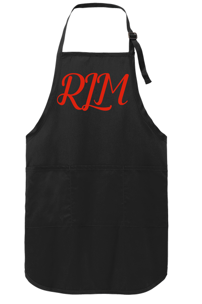 Black Apron with Red Monday Script Monogram | KeepsakesDesigns.com