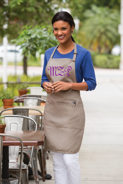 Khaki Apron with Purple Gessele Script Monogram | KeepsakesDesigns.com