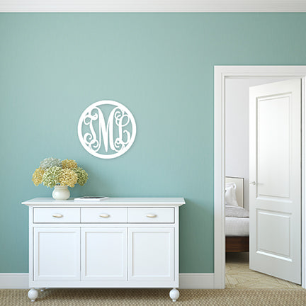 22in Scallop or Circle Wood Monogram