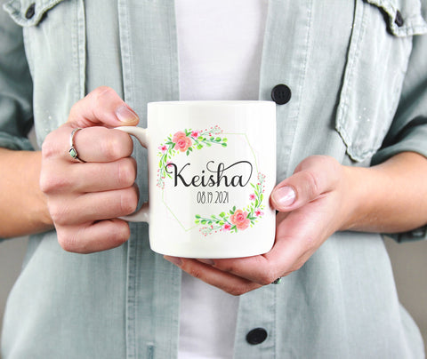 Custom Coffee Mug - Personalize with a name and date.