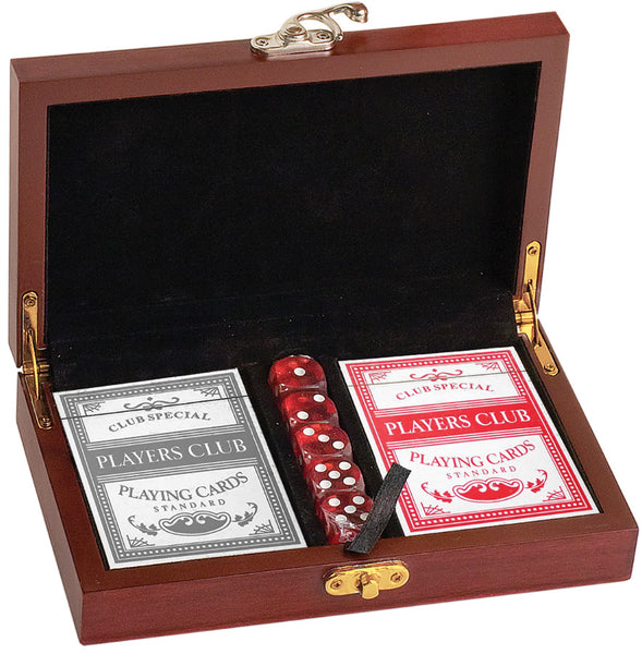 Engravable Card and Dice Set - Rosewood Finish 100 Chip