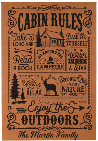 "Personalized Cabin Rules Wall Decor Engraved on vegan leather - 12""X18"""
