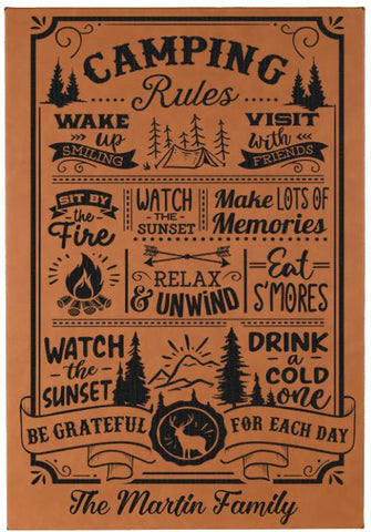 "Personalized Camping Rules Wall Decor Engraved on vegan leather - 12""X18"""