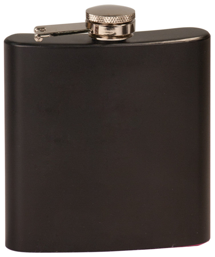 Monogrammed 6 oz Flask Black Presentation Box