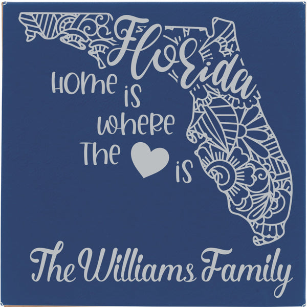 "Blue with Silver Engraving Personalized wall hanging on vegan leather - 14""X14"" - Home is where the {heart} is"