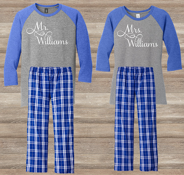 Mr. & Mrs. Personalized Pajama Christmas Gift Set
