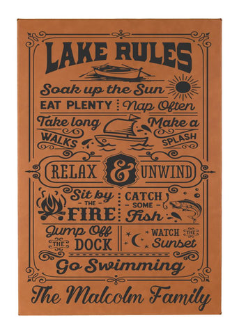"Personalized Lake Rules Wall Decor Engraved on vegan leather - 12""X18"""