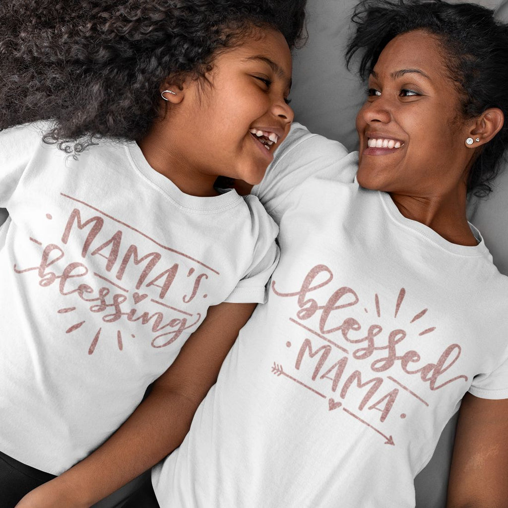 Mommy & Me Tshirt Set - Mama's Blessing & Blessed Mama White Tshirt Set