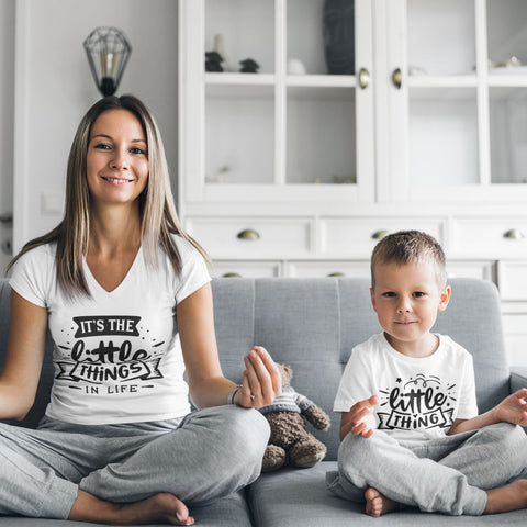 Mommy & Me Tshirt Set - It's the Little Things -  White Tshirt Set
