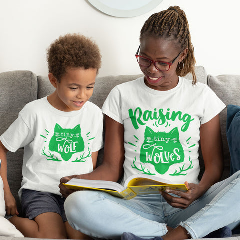 Mommy & Me Tshirt Set - Raising Tiny Wolves/Tiny Wolf White Tshirt Set