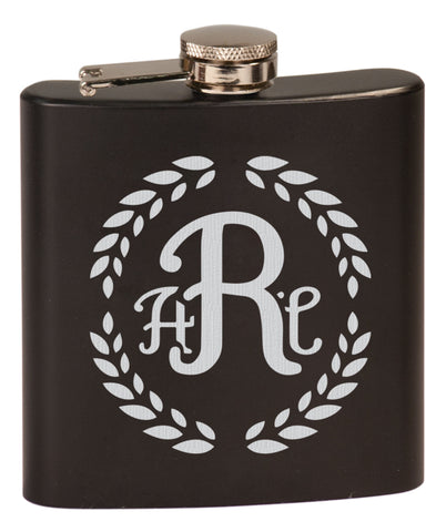 3 Letter Monogram 6 oz Engraved Flask | Variety of colors Available | Custom Gift | Laser Engraved Flask