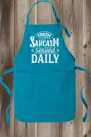 Serving Fresh Sarcasm Daily Full-Length Apron Two Pockets