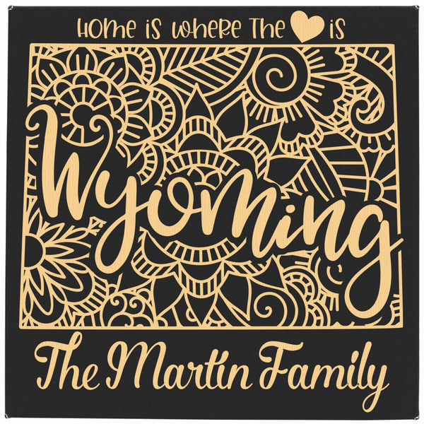 "Black with Gold Engraving Personalized wall hanging on vegan leather - 10""X10"" - Home is where the {heart} is"