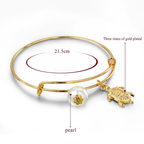 Lovely Small Gold Turtle Bangles Pearl Bracelets