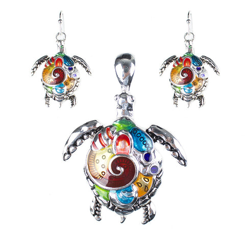 Beautiful Sea Turtle Tortoise Pendant Necklace and Earrings Set