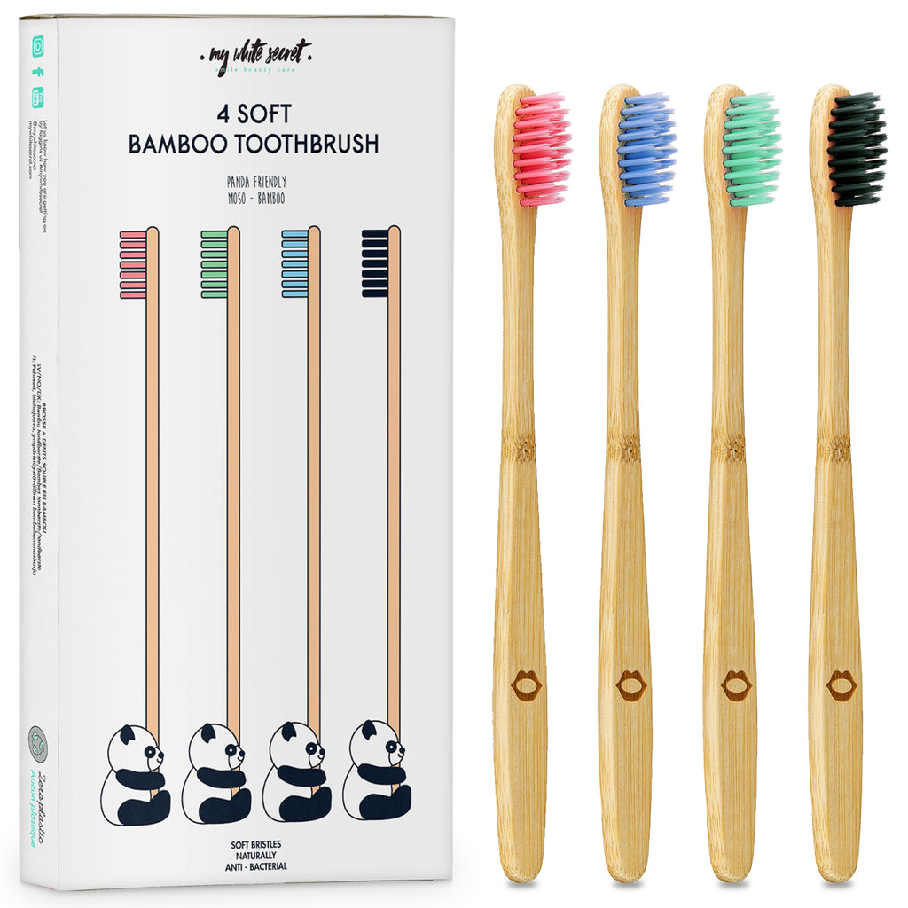 4 Pack of multi colour bamboo Toothbrushes (Blue, Black, Pink and Green)