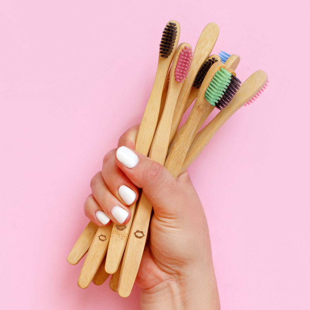 4 Pack of multi colour bamboo Toothbrushes