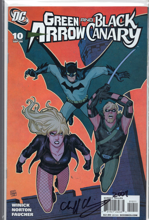 DC Comics Green Arrow and Black Canary #10 Signed By Cliff Chiang with COA