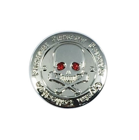 Parsaver Golf - Skull & Bones Golf Ball Marker embellished with Red crystals from Swarovski®