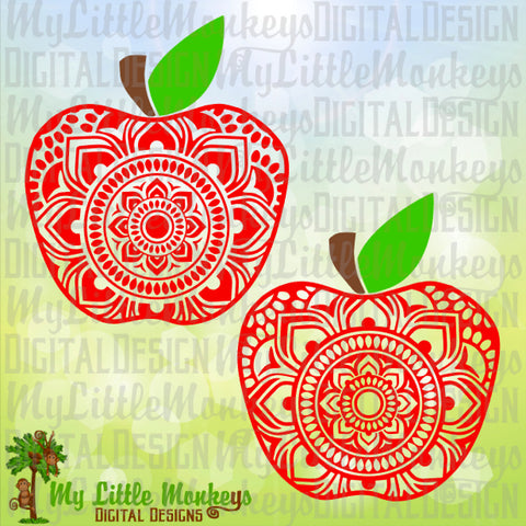 Mandala SVG ~ Apple Mandala SVG ~ Teacher Decal~ Teacher Svg ~ School Apple Svg ~ Mandala Decal ~ Commercial Use SVG ~ Cut File ClipArt png-dxf-eps