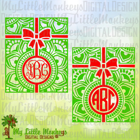 Christmas svg ~ Mandala SVG ~ Monogram SVG ~ Christmas Present Mandala ~ Christmas Monogram ~Commercial Use SVG Cut File Clipart dxf-eps-png