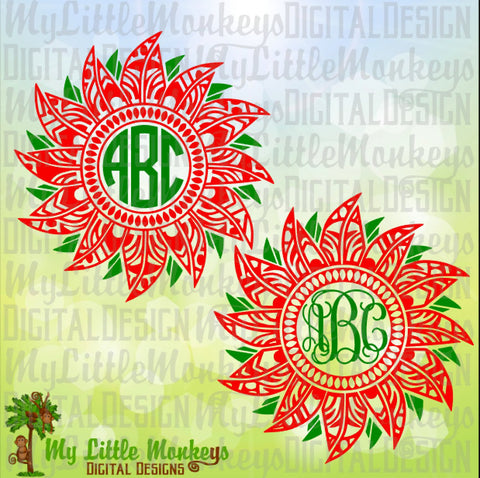 Christmas Poinsettia Mandala Monogram Base Christmas SVG Digital Clipart Cut File Instant Download SVG DXF eps Jpeg Png