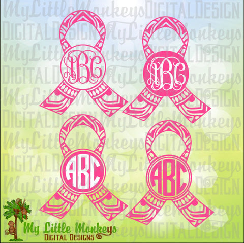 Awareness Ribbon Mandala Monogram Base Digital Clipart and Cut File Instant Download SVG, EPS, DXF, Jpeg, Png