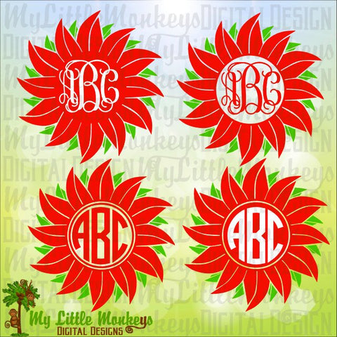 Christmas Poinsettia Monogram Base Christmas SVG Digital Clipart Cut File Instant Download SVG DXF eps Jpeg Png