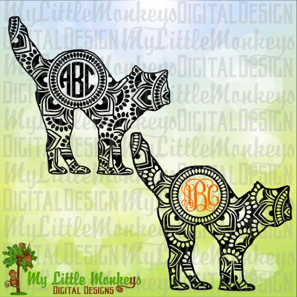 Black Cat Mandala Monogram Base, Halloween Design, Digital Clipart and Cut File Jpeg Png SVG EPS DXF Instant Download