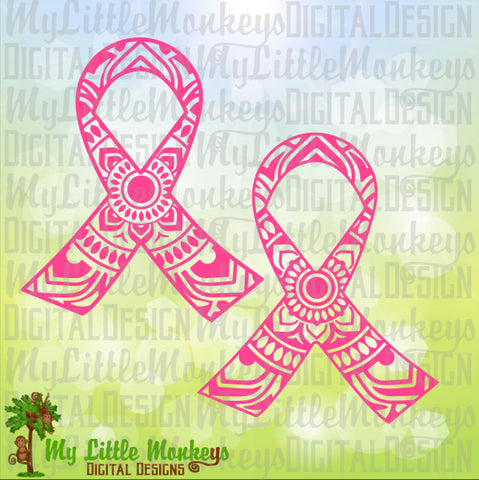 Awareness Ribbon Mandala Design Digital Clipart and Cut File Instant Download SVG, EPS, DXF, Jpeg, Png