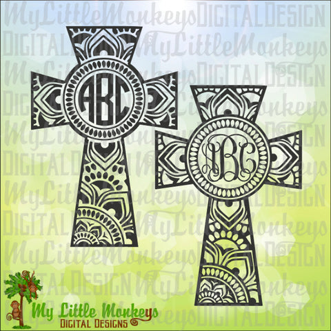 Mandala Cross Monogram Base Faith Digital Clipart and Cut File, Instant Download SVG EPS DXF Jpeg Png