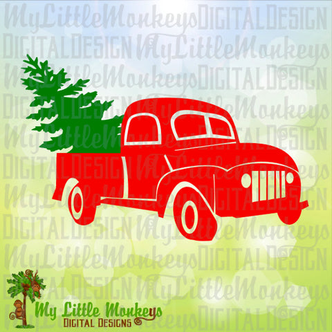 Antique Pickup Truck with Tree Christmas Design Digital Clipart Instant Download Full Color 300 dpi Jpeg, Png, SVG EPS DXF