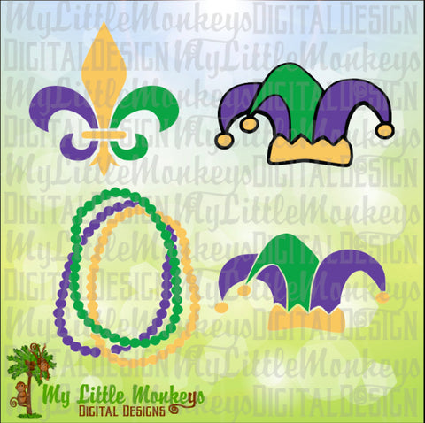 Mardi Gras Icons, Mardi Gras Beads, Jester Hat, Fleur de lis Design Instant Download SVG, DFX, EPS, 300 dpi Jpeg & Png