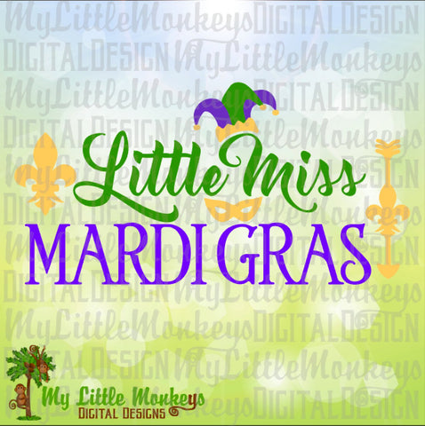 Little Miss Mardi Gras Design Digital Clipart & Cut File Instant Download Jpeg Png SVG EPS DXF Formats